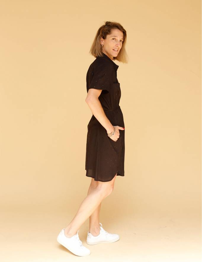 Alef Alef | אלף אלף - בגדי מעצבים | שמלת Damari שחור דפוס מבריק