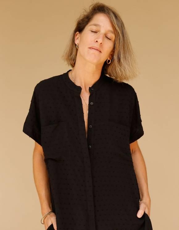 Alef Alef | אלף אלף - בגדי מעצבים | חולצת Mann שחור טקסטורה