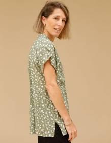 Alef Alef   אלף אלף - בגדי מעצבים   חולצת Mann ירוק דפוס פרחים