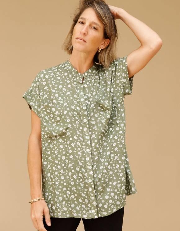 Alef Alef | אלף אלף - בגדי מעצבים | חולצת Mann ירוק דפוס פרחים