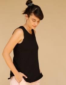 Alef Alef   אלף אלף - בגדי מעצבים   גופית LEVY שחור מחורר