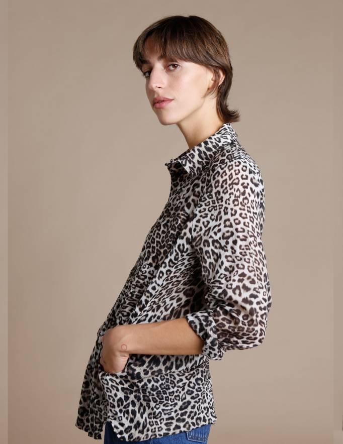 Alef Alef | אלף אלף - בגדי מעצבים | חולצת Tavor מנומר חום