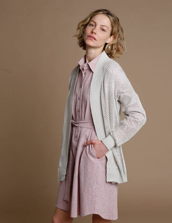 Alef Alef   אלף אלף - בגדי מעצבים   שמלת Fuji  רוז' פרינט