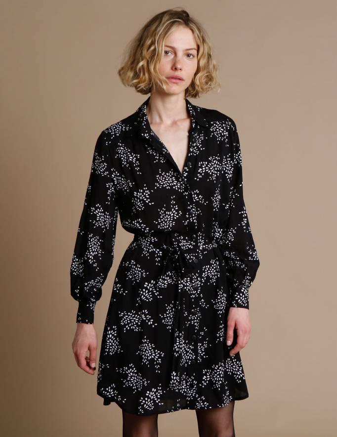 Alef Alef | אלף אלף - בגדי מעצבים | שמלת Fuji שחור דפוס לבן