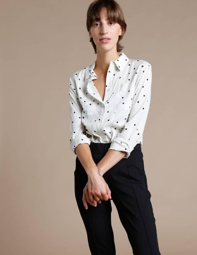 Alef Alef | אלף אלף - בגדי מעצבים | חולצת Tavor שמנת נקודות