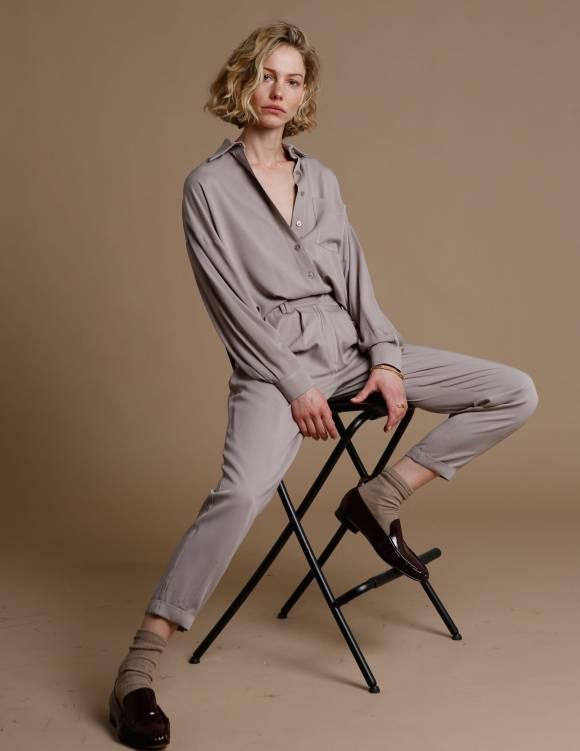 Alef Alef | אלף אלף - בגדי מעצבים | מכנסי Hermon אבן