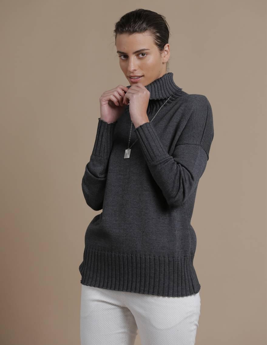 Alef Alef   אלף אלף - בגדי מעצבים   סוודר Ararat אפור כהה