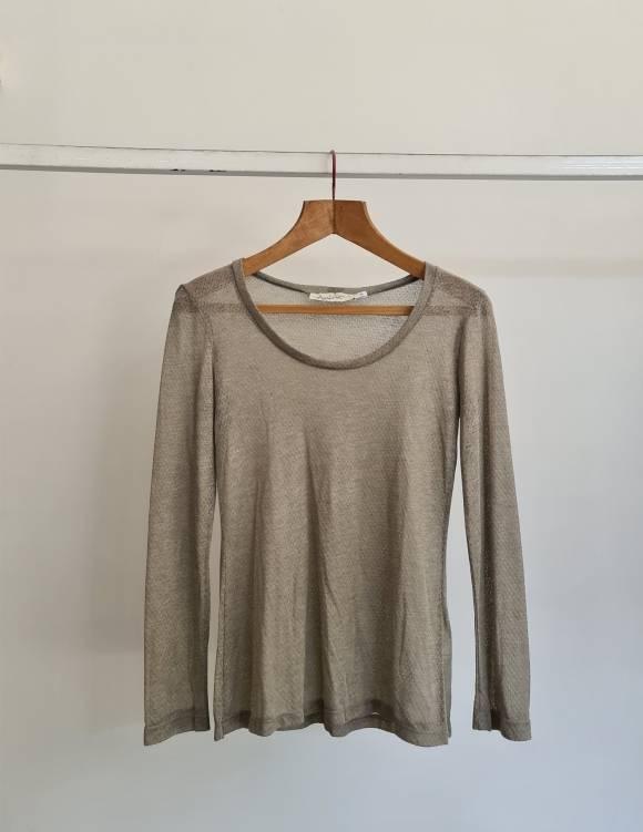 Alef Alef   אלף אלף - בגדי מעצבים   Sample   חולצת חאקי ארוכה מחוררת