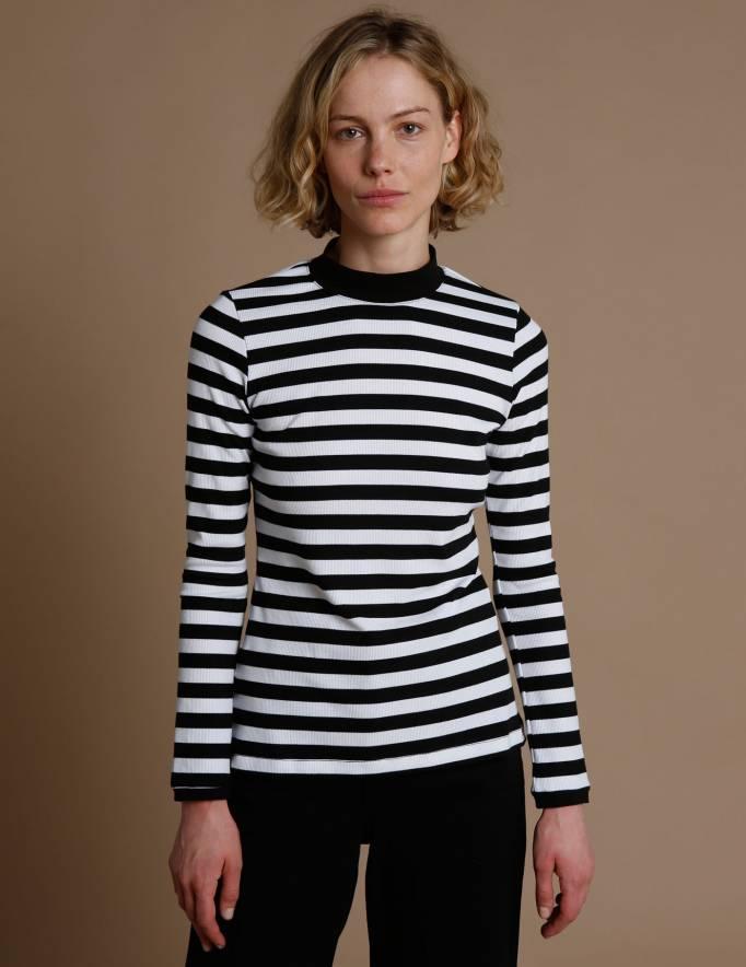 Alef Alef | אלף אלף - בגדי מעצבים | חולצת Bona פסים שחור לבן