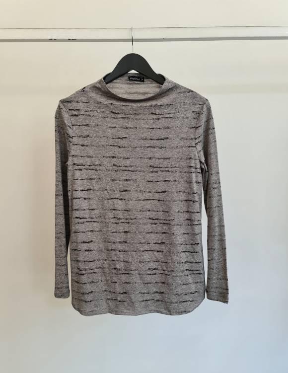 Alef Alef   אלף אלף - בגדי מעצבים   חולצת Susan   אפור מלאנז'