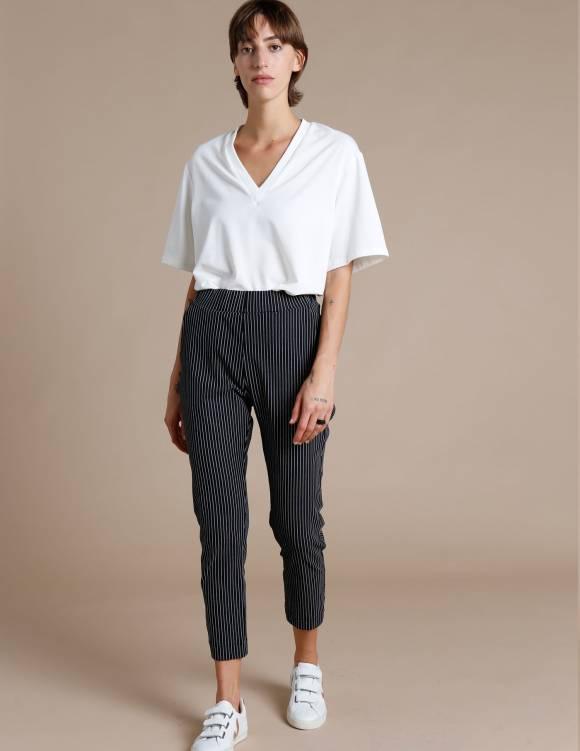 Alef Alef | אלף אלף - בגדי מעצבים | מכנסי Rocky שחור פסים לבן