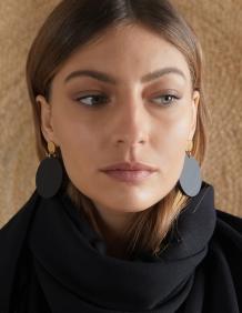 Alef Alef | אלף אלף - בגדי מעצבים | EFF DAYO – עגילי סטייטמנט שחורים עגולים