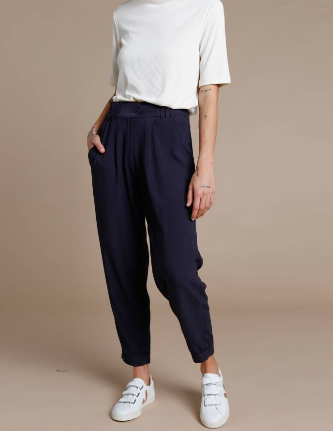 Alef Alef | אלף אלף - בגדי מעצבים | מכנסי Hermon נייבי
