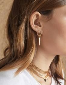 Alef Alef | אלף אלף - בגדי מעצבים | EFF JOJO – עגילי משולש מתכת קטן מצופה זהב