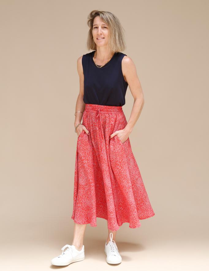 Alef Alef | אלף אלף - בגדי מעצבים | חצאית ATIAS אדום דפוס כחול