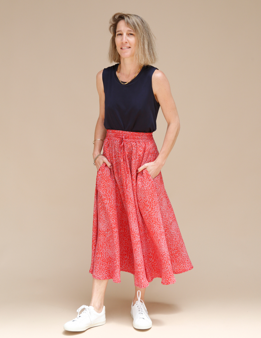 Alef Alef   אלף אלף - בגדי מעצבים   חצאית ATIAS אדום דפוס כחול