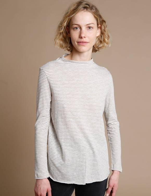 Alef Alef   אלף אלף - בגדי מעצבים   חולצת Susan   אפור פס דק
