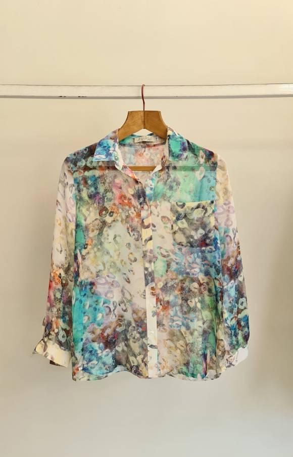 Alef Alef   אלף אלף - בגדי מעצבים   חולצת שיפון מכופתרת  הדפס צבעוני