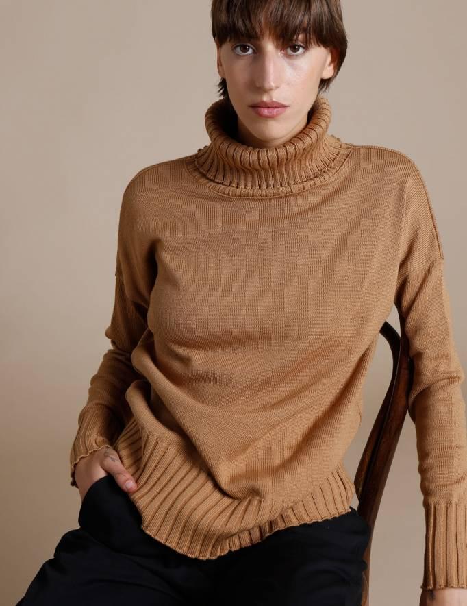 Alef Alef   אלף אלף - בגדי מעצבים   סוודר Ararat קאמל