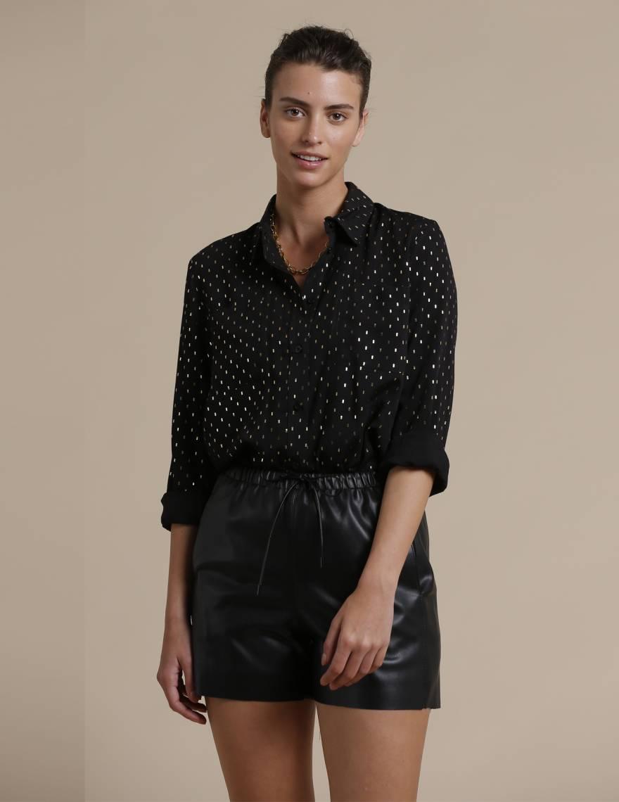 Alef Alef | אלף אלף - בגדי מעצבים | מכנסי Anchee דמוי עור שחור