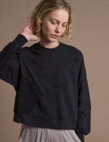 Alef Alef   אלף אלף - בגדי מעצבים   סווטשירט El Capitan שחור/שחור הפוך