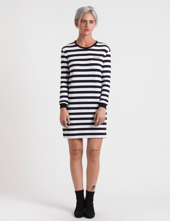 Alef Alef | אלף אלף - בגדי מעצבים | שמלת בקי  פסים רקמה