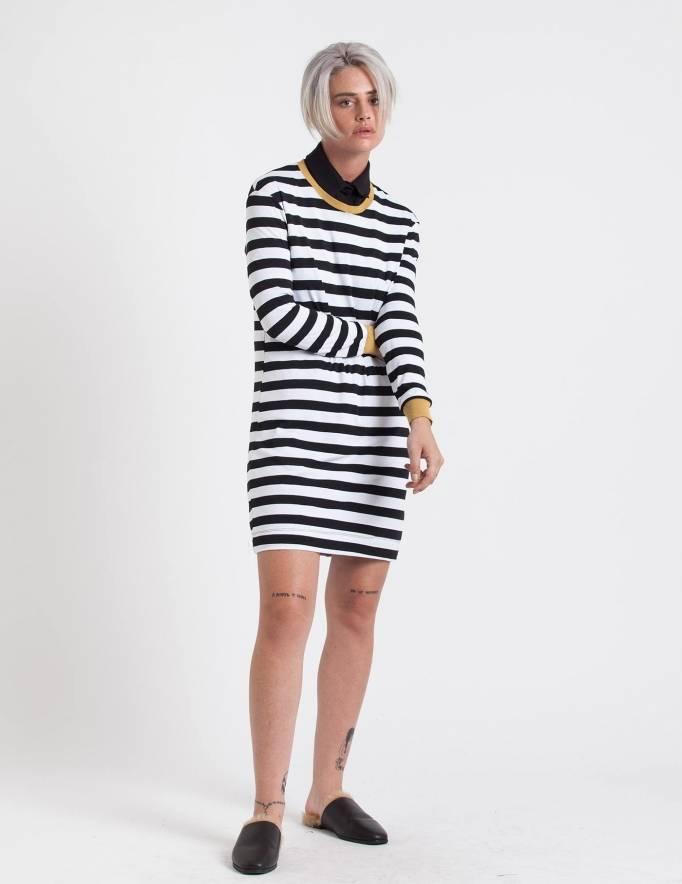 Alef Alef | אלף אלף - בגדי מעצבים | שמלת בקי פסים חרדל