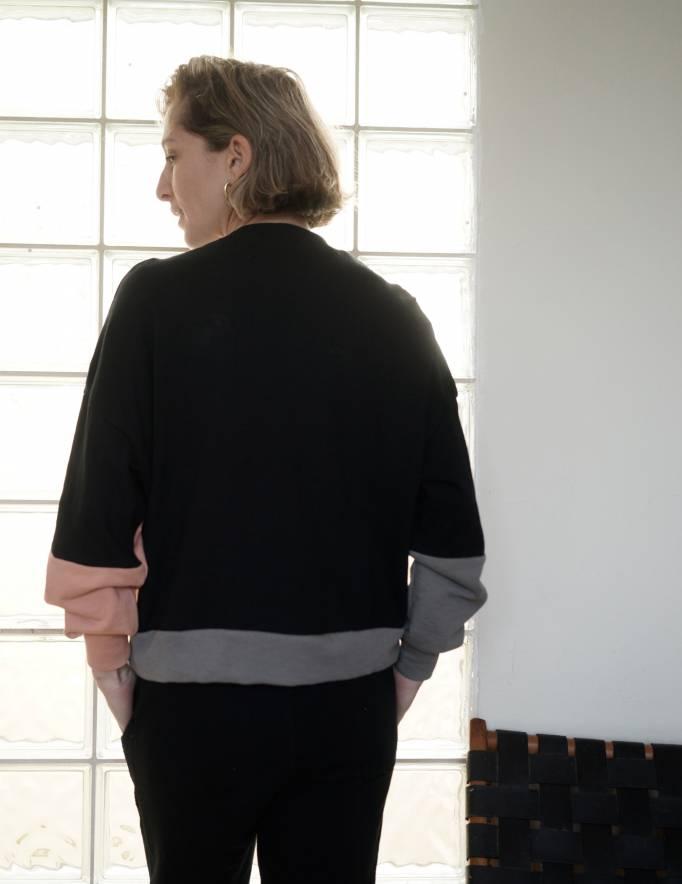 Alef Alef | אלף אלף - בגדי מעצבים | סווטשירט El Capitan | שחור/פודרה/אפור