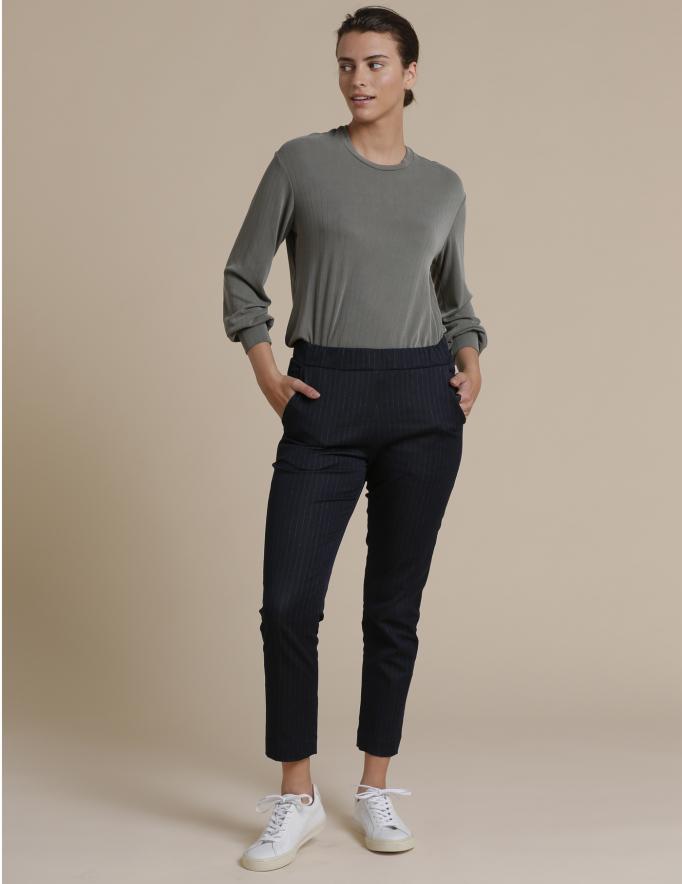 Alef Alef | אלף אלף - בגדי מעצבים | מכנסי Rocky כחול פס לבן