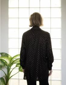 Alef Alef | אלף אלף - בגדי מעצבים | חולצת Tavor שחור דפוס זהב