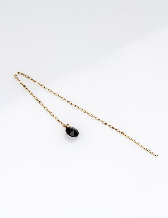 Alef Alef | אלף אלף - בגדי מעצבים | עגיל שרשרת ROSS עם אבן סברובסקי שחורה