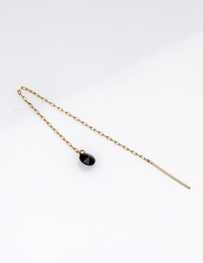 Alef Alef   אלף אלף - בגדי מעצבים   עגיל שרשרת ROSS עם אבן סברובסקי שחורה