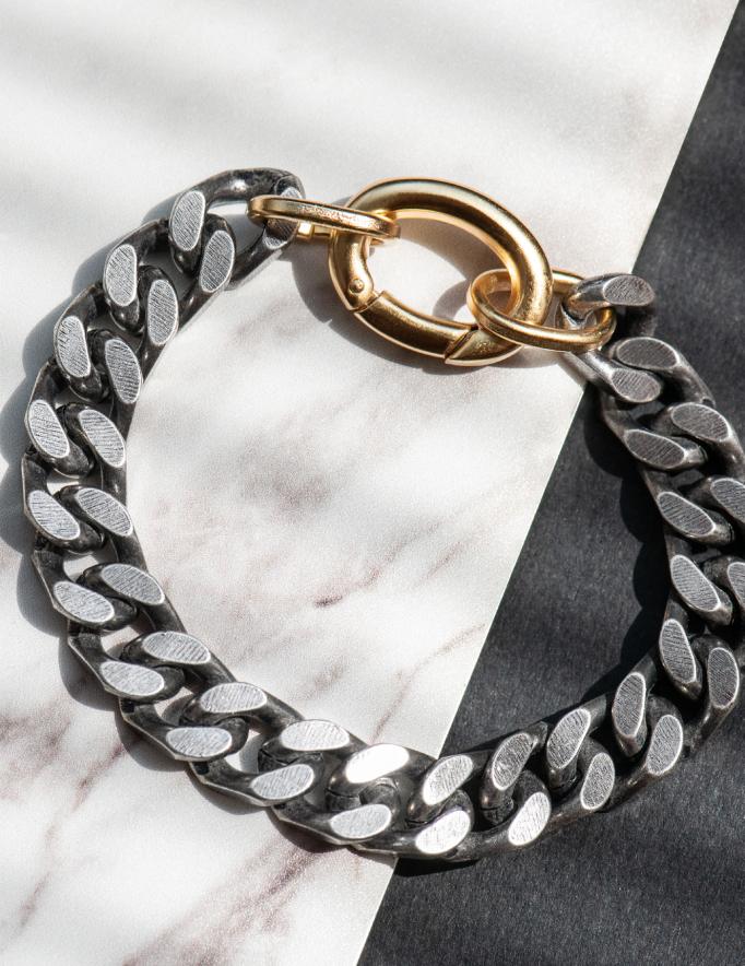 Alef Alef | אלף אלף - בגדי מעצבים | צמיד SHELLBY כסף סוגר זהב