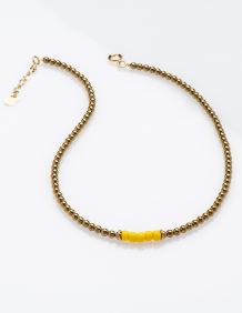 Alef Alef | אלף אלף - בגדי מעצבים | BEE GEE – שרשרת אבני המטייט וחרוזים צהובים