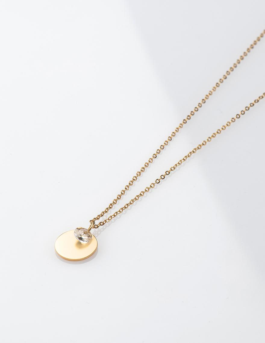 Alef Alef | אלף אלף - בגדי מעצבים | שרשרת ארוכה עם תליון זהב קטן -BILLIE