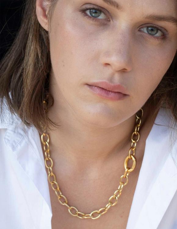 Alef Alef | אלף אלף - בגדי מעצבים | שרשרת OVAL זהב קצרה