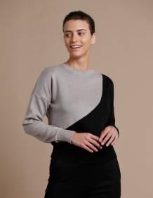 Alef Alef | אלף אלף - בגדי מעצבים | סוודר Everest שחור / בז'