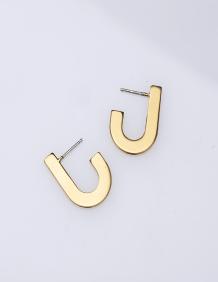 Alef Alef | אלף אלף - בגדי מעצבים | AYO S – עגילי חישוק אליפסה זהב קטן