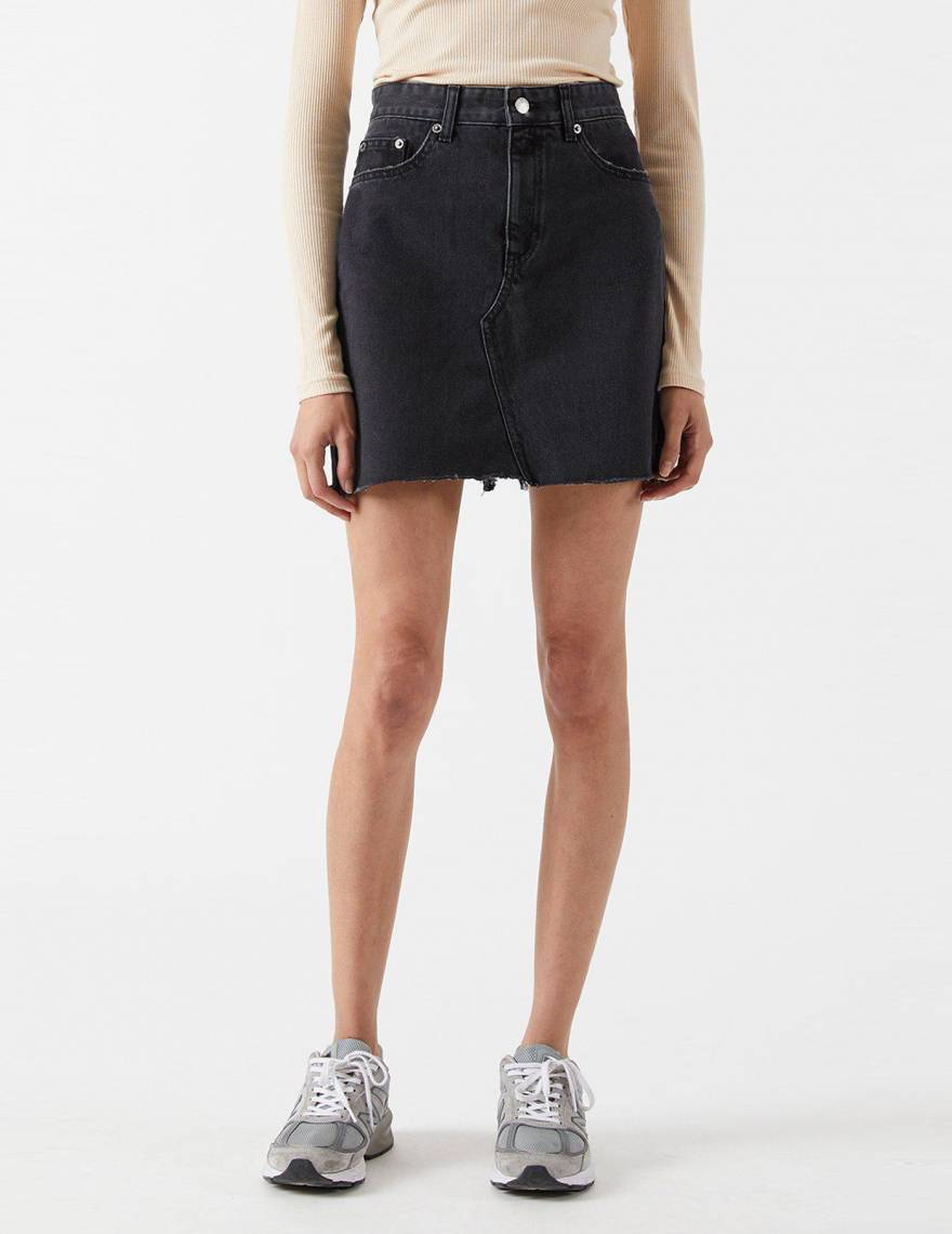 Alef Alef   אלף אלף - בגדי מעצבים   Echo Denim Skirt   Charcoal black