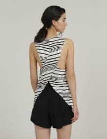 Alef Alef   אלף אלף - בגדי מעצבים   גופית ZOE פסים שחור לבן