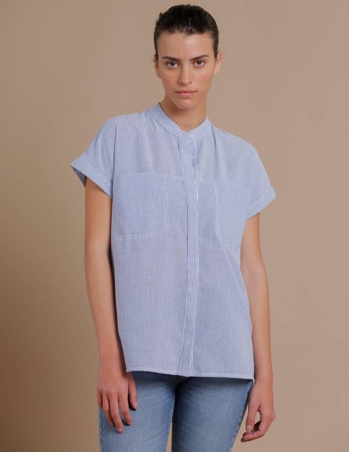 Alef Alef | אלף אלף - בגדי מעצבים | חולצת Mann פסים כחול/לבן