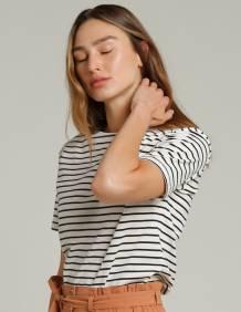 Alef Alef | אלף אלף - בגדי מעצבים | חולצת MEDES פסים שחור שמנת