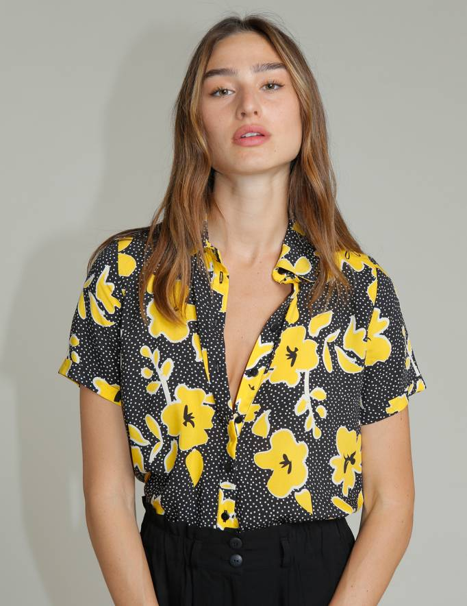 Alef Alef | אלף אלף - בגדי מעצבים | חולצת SINAI צהוב פרחוני