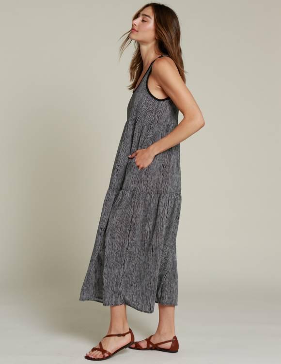 Alef Alef | אלף אלף - בגדי מעצבים | שמלת NIA שחור פסים לבן