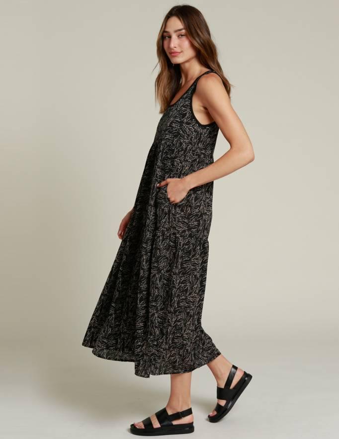 Alef Alef | אלף אלף - בגדי מעצבים | שמלת NIA שחור דפוס