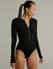 Alef Alef | אלף אלף - בגדי מעצבים | בגד ים שלם שרוול ארוך | שחור
