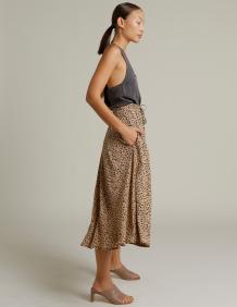 Alef Alef | אלף אלף - בגדי מעצבים | חצאית SYMI בז' כתמים שחור