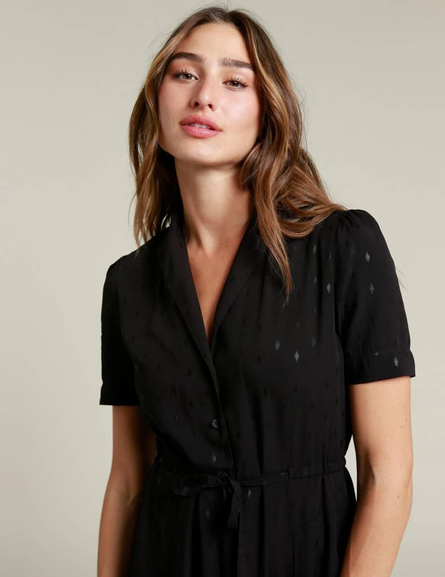 Alef Alef | אלף אלף - בגדי מעצבים | שמלת LAILA שחור פויל