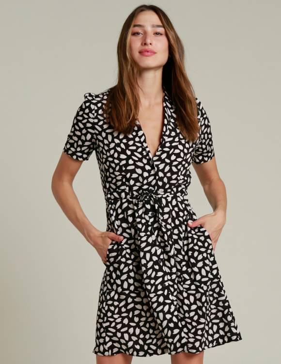 Alef Alef | אלף אלף - בגדי מעצבים | שמלת MESSINA שחור כתמים לבן