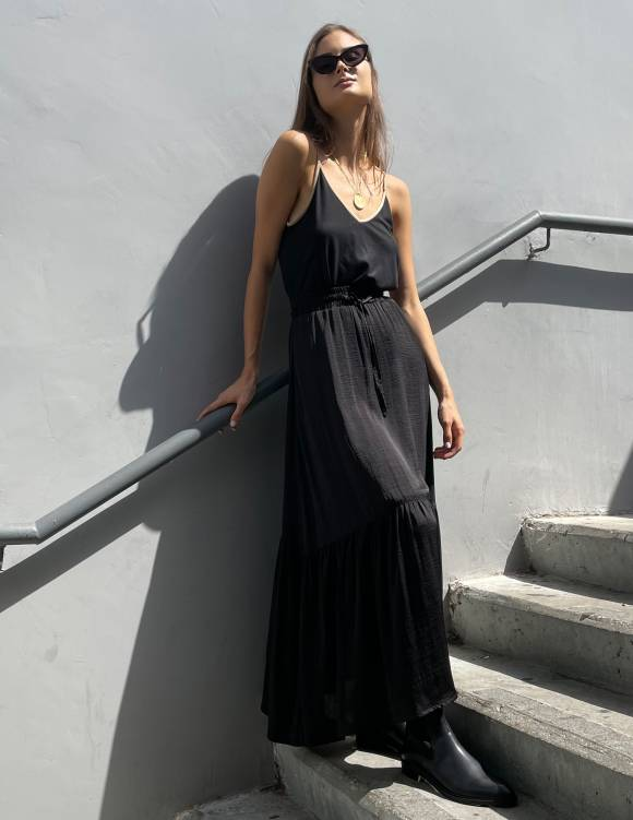 Alef Alef   אלף אלף - בגדי מעצבים   חצאית מקסי VIOLA שחור